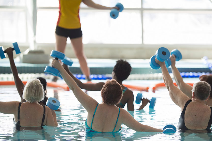 Photo of water aerobics session