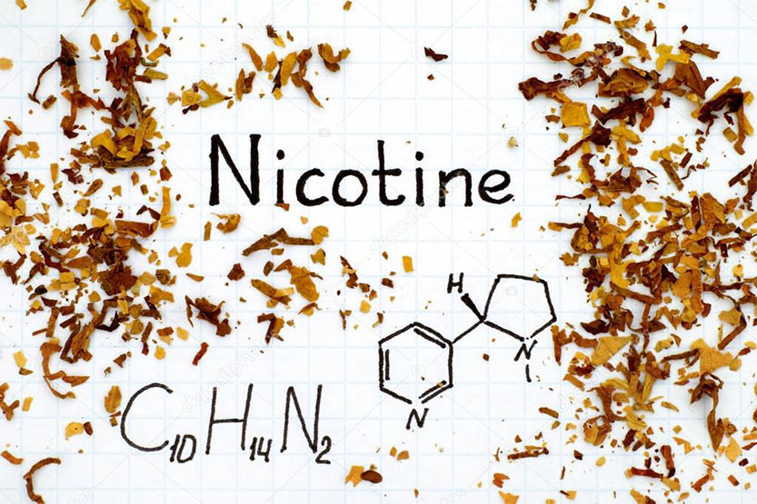 photo of nicotine chemical symbol
